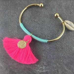 {coming soon}  Pink Tassel Boho Bangle Bracelet